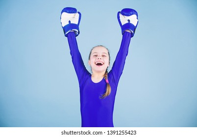 Risk of injury. Female boxer change attitudes within sport. Rise of women boxers. Girl cute boxer on blue background. With great power comes great responsibility. Boxer child in boxing gloves.