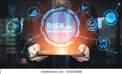 Risk Management and Assessment for Business Investment Concept. Modern graphic interface showing symbols of strategy in risky plan analysis to control unpredictable loss and build financial safety. - Shutterstock ID 1563192808