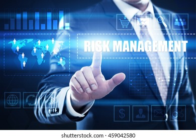 Risk management, business, technology and internet concept: businessman are using a virtual computer and are selecting risk management.