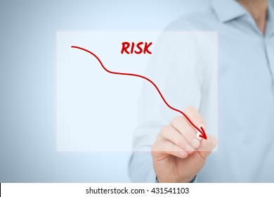 Risk management concept. Businessman (risk manager) draw descending curve in graph to reduce corporate risk.