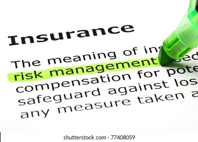 Risk management highlighted in green, under the heading Insurance.