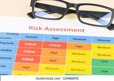 Risk management matrix chart with glasses