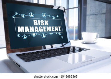 Risk Management text on modern laptop screen in office environment. 3D render illustration business text concept.