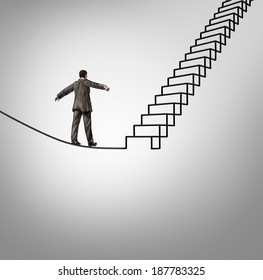 Risk opportunity and danger management business concept with a businessman balancing on a tightrope shaped as upward stairs or stairway as a financial career metaphor for reducing uncertainty.