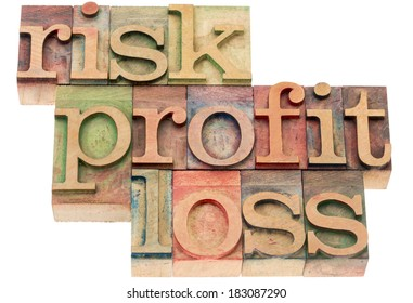 risk, profit, loss - investing concept - word abstract in letterpress wood type