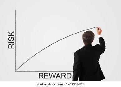 risk reward concept. man draws a chart on the wall