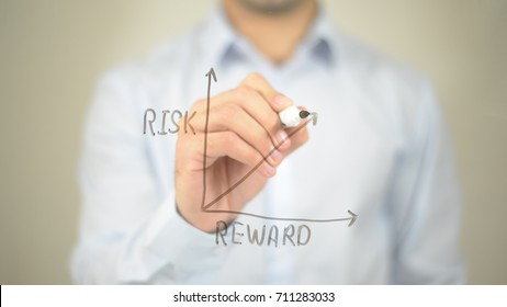 Risk Reward Ratio, Concept Graph, Man writing on transparent screen