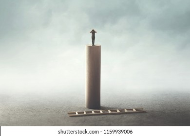 the risk of success concept, desperate man on the top can't get of from the tower