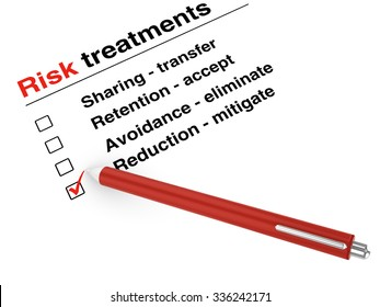 Risk treatment checklist and a pen on white background