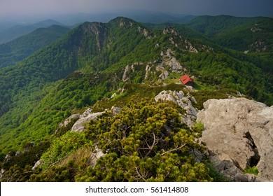 Risnjak national park in Croatia (Hrvatska, Kroatien) - a view from above toward the mountain hut