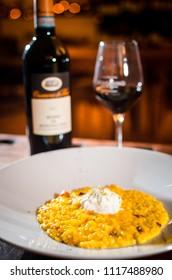 risotto alla milanese and wine