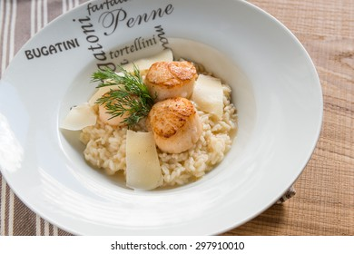 Risotto with scallops.