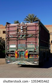 RISSANI, MOROCCO - FEB 15, 2019 - Large truck outside the ksar of  Rissani, Morocco, Africa