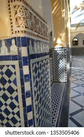 RISSANI, MOROCCO - FEB 15, 2019 - Mosaic tiled columns in the Moulay Ali Cherif Mausoleum,  Rissani, Morocco, Africa