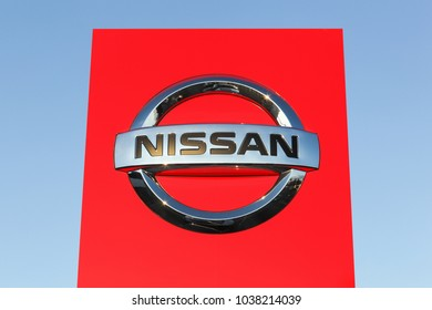 Risskov, Denmark - October 28, 2017: Nissan logo on a panel. Nissan Motor Company Ltd, usually shortened to Nissan is a Japanese multinational automobile manufacturer headquartered in Nishi-ku Japan