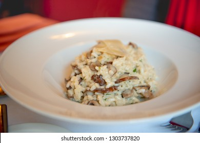 rissoto with mushrooms and parmesan cheese