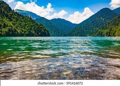 Ritsa lake, Abkhazia. beautiful landscape