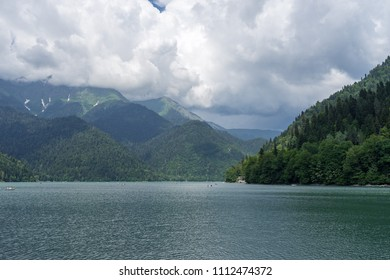 Ritsa Lake in mountains. Relict National Park in Georgia