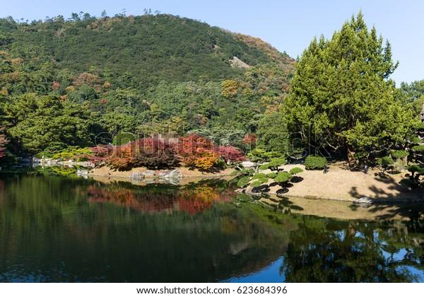 Ritsurin Garden in autumn