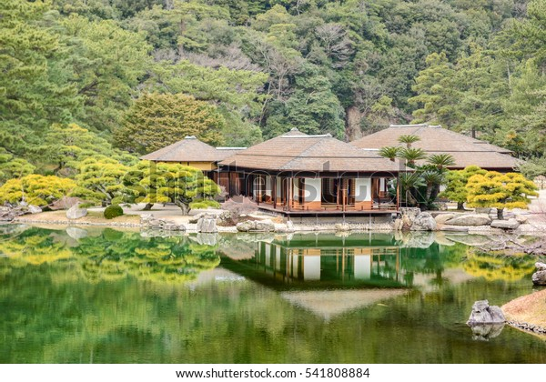 Ritsurin Garden in Takamatsu city, Kagawa Prefecture, Japan. Ritsurin Garden is one of the most famous historical gardens in Japan.