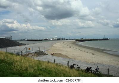 Ritthem, Zeeland, june 2016: Beach at the Wester Scheldt