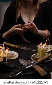 The ritual of black magic conducted with the help of a snake