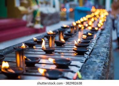 Ritual candles in Shwedagon Pagoda