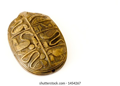 Ritual egyptian scarab isolated on white with right empty space to write