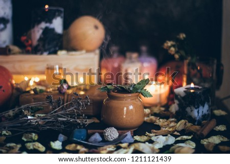 Ritual Halloween Witchcraft Scene Candles Herbs Stock Photo (Edit