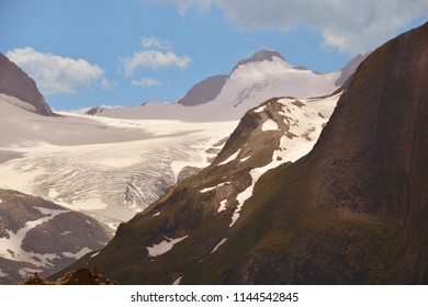 The Ritzhorner (centre right) and the Gries Glacier in the southern Swiss Alps close to the Italian border.