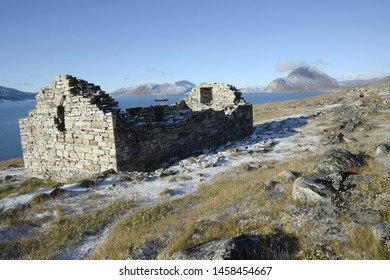 Riuns of the Church of the viking settlement in Hvalsey, Southwest Greenland in Autumn