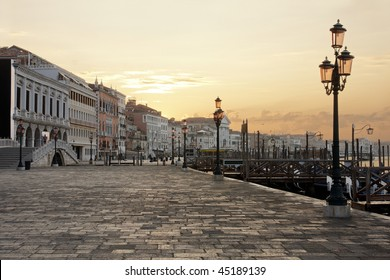 Riva degli Schiavoni in Venice seen at dawn