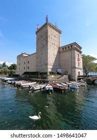 Riva del Garda, Italy -  Aug 1, 2019: Rocca Castle and museum in Riva del Garda on Lake Garda