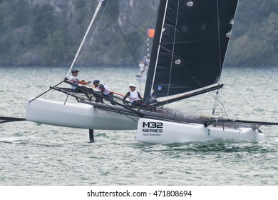 RIVA DEL GARDA, ITALY - AUGUST 19: first day of competition for M32 series mediterranean, a sailing fast catamaran competition on Garda lake. on august 19, 2016 in Riva del Garda, Italy.