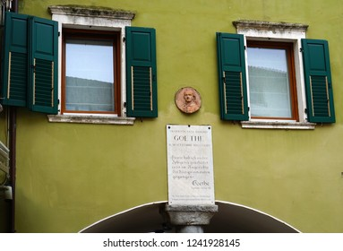 Riva Del Garda, Lake Garda/ Italy - 05/18/2017: House with a commemorative plaque of Goethe in Torbole, Riva del Garda, lake Garda, Italy