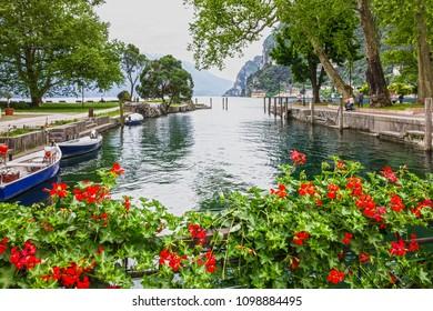 Riva del Garda lake landscape, Lombardy, Italy