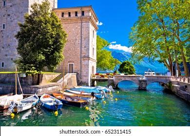 Riva del Garda old waterfront view, Lago di Gada, Trentino Alto Adige region of Italy