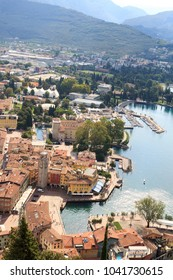 Riva del Garda town aerial view panorama at Lake Garda, Italy