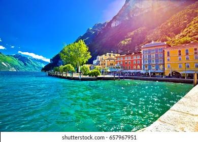 Riva del Garda waterfront view at sunset, Lago di Gada, Trentino Alto Adige region of Italy