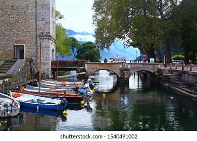 Riva del Garda,Italy 09.08.2019  beautiful views of Riva del Garda  promenade