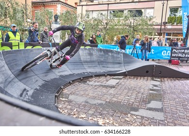 Riva del Garda,Lago di Garda ,Italy - 29 April 2017: Unknown rider in action during the competition Garda Trentino Pump Battle at Ziener BIKE Festival Garda Trentino,motion blur