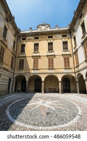 RIVA DI SOLTO, ITALY - JULY 2, 2016: Riva di Solto (Bergamo, Lombardy, Italy), historic village along the lake of Iseo. Palace.