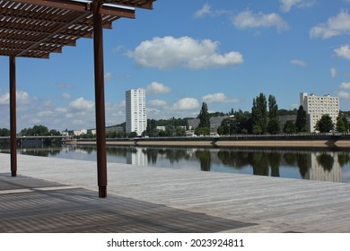 Rive Droit River Allier Vichy France. August 12 2021. Abstract view across the river Allier towards the Quartier des Ailes at Vichy in rural central France.