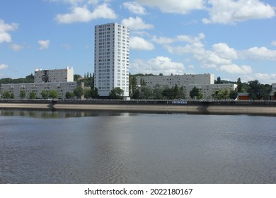 Rive Droit Vichy France. August 09 2021. View of the Quartier des Ailes from across the river Alier at Vichy a town in central France.
