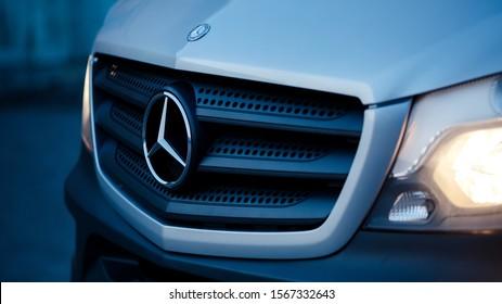 Riven, Ukraine - November 22, 2019: Passenger van Mercedes-Benz Sprinter.