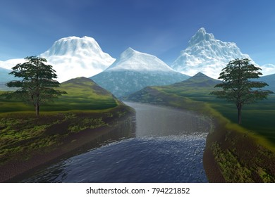 River, 3D rendering, an alpine landscape, snow on the peaks of mountains and a cloudy sky.
