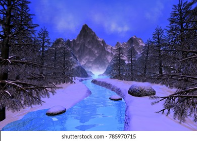 River, 3D rendering, a snowy landscape, mountain, coniferous trees and a blue sky.