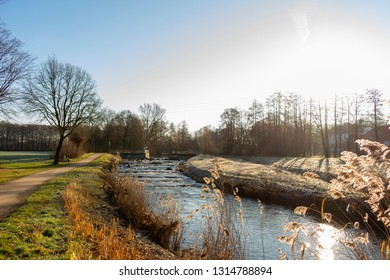"The river ""Aa"" with fish pass in sunshine. Location: Germany, North Rhine-Westphalia, Hoxfeld"