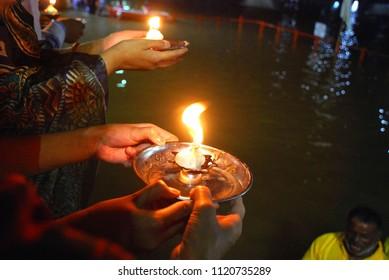 River aarti in evening time during kumbh mela 2017, Ujjain
