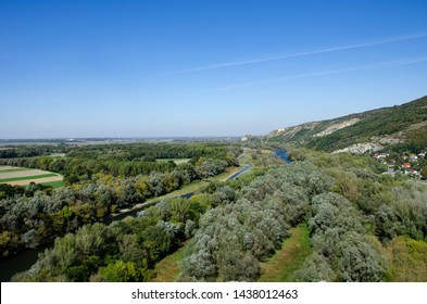river from above, surrounded from trees, Donau in Devin, blue heaven